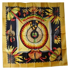 "Rare First Issue Famous Hermes Silk Scarf ""Brazil""by Laurence Bourthoumieux 1988"