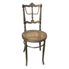 Rare Fischel Bentwood Ebonized Side Chair with Incised & Gilded Decoration