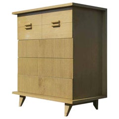 Rare Five-Drawer Mahogany Faux Bamboo Chest by American of Martinsville, 1952