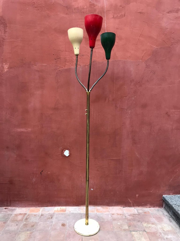 Italian Rare Floor Lamp by Giuseppe Ostuni for O-Luce, Italy, 1950 For Sale
