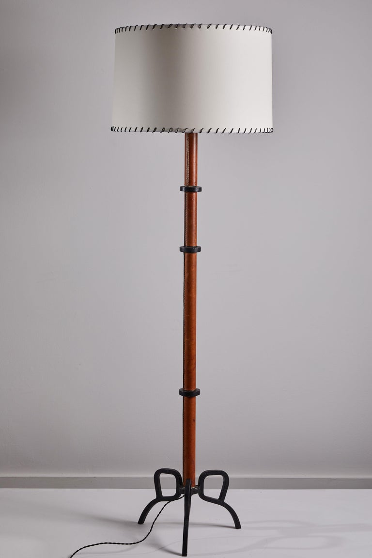 Rare Floor Lamp by Jacques Adnet In Good Condition For Sale In Los Angeles, CA