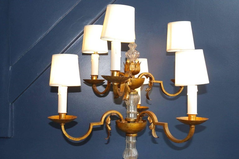 Gilt Rare Floor Lamp in the Style of Poillerat, France, 1940s For Sale