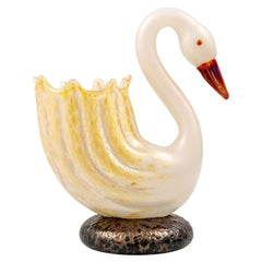 Rare Flower Vase in the Shape of a Swan Loetz, circa 1905