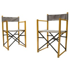 Rare Folding Chairs in Wood, Metal and Fabric, 1960s