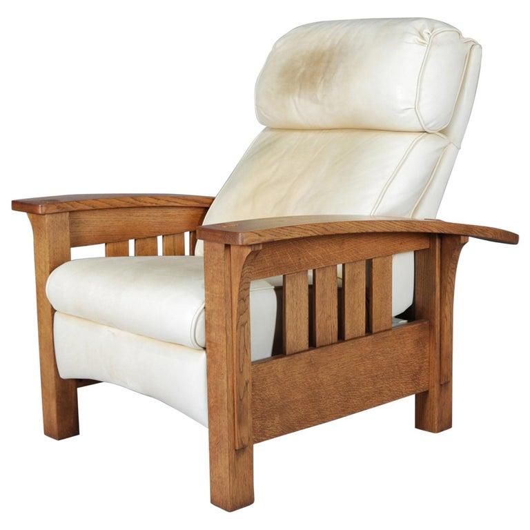 Awe Inspiring Rare Form Arts Crafts Stickley Bros Bow Arm Morris Chair Recliner Circa 1980 Machost Co Dining Chair Design Ideas Machostcouk
