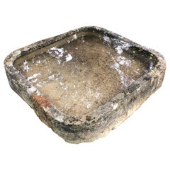 Rare Form Square French Hand Carved Limestone Trough with Rounded Edges