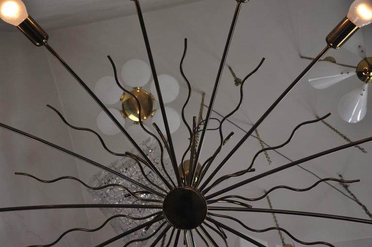 Rare Fourteen-Arm Huge Brass Crystal Chandelier, 1950s, Attributed to Lobmeyr For Sale 4