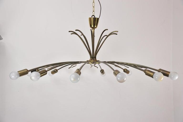 Rare Fourteen-Arm Huge Brass Crystal Chandelier, 1950s, Attributed to Lobmeyr