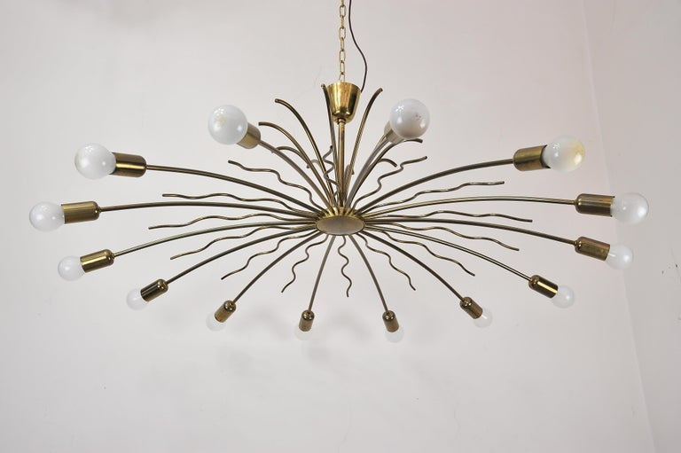 Mid-Century Modern Rare Fourteen-Arm Huge Brass Crystal Chandelier, 1950s, Attributed to Lobmeyr For Sale