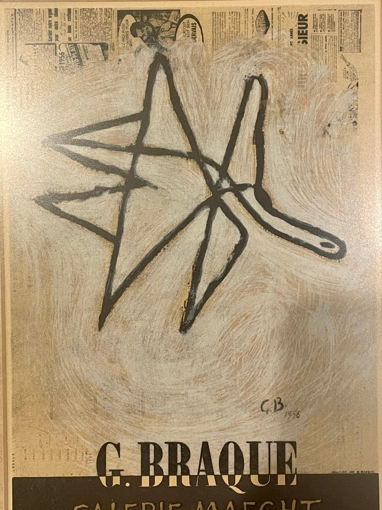 A very rare nicely framed original lithograph by Georges Braque for Galerie Maeght, circa 1950s.