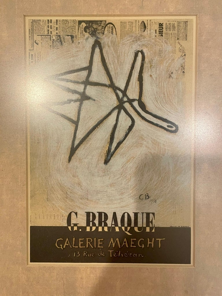 French Rare Framed Framed Lithograph by Georges Braque for Galerie Maeght For Sale