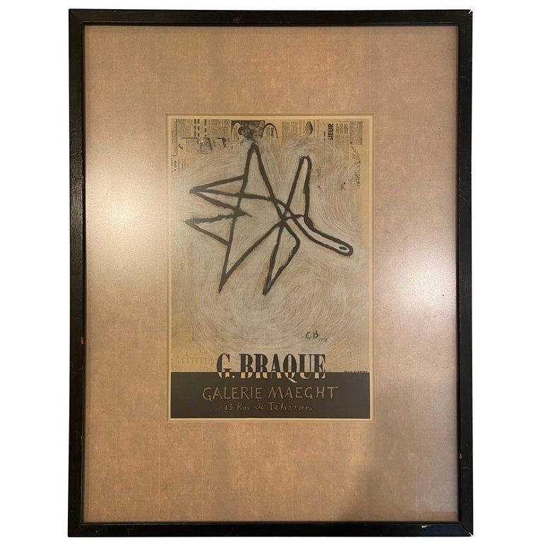 Rare Framed Framed Lithograph by Georges Braque for Galerie Maeght For Sale