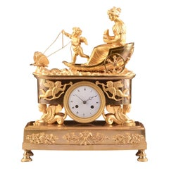 Rare France Empire Clock with Cupido and Psyché and Butterfly Chariot