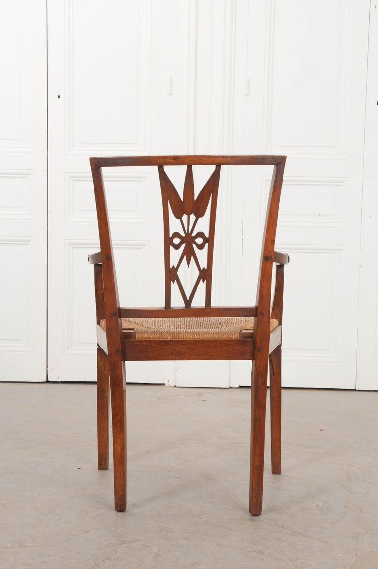 Hand-Carved Rare French 19th Century Louis XVI-Style Rush-Seat Armchair For Sale