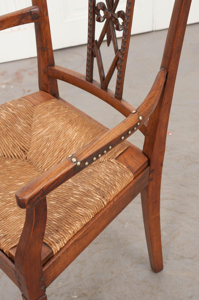 Rare French 19th Century Louis XVI-Style Rush-Seat Armchair For Sale 1
