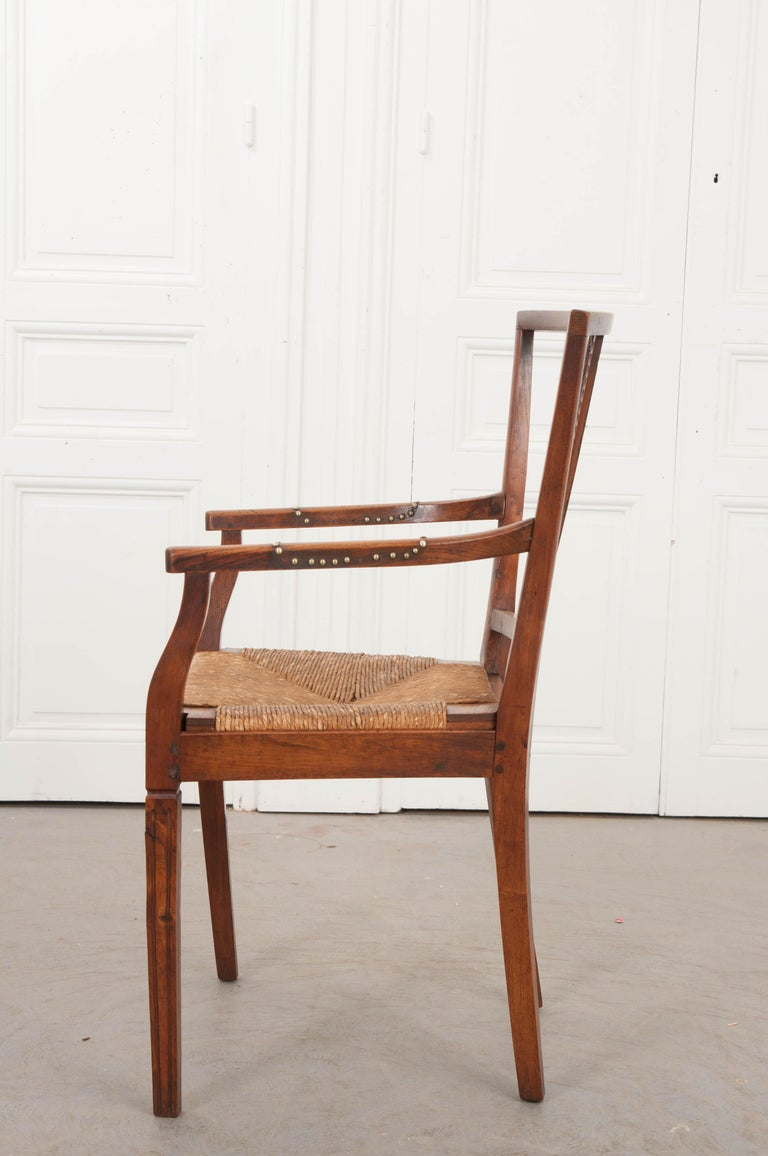 Rare French 19th Century Louis XVI-Style Rush-Seat Armchair For Sale 3