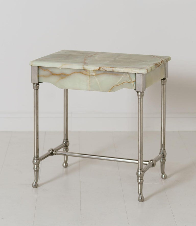 A rare agate patisserie table on a nickel-plated base, dated to the early 20th century. This beautiful piece came from a patisserie shop in Avignon, the Provence region of France, circa 1920.
