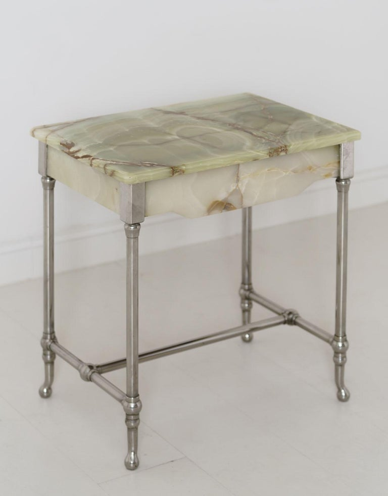 Plated Rare French Agate Patisserie Table For Sale