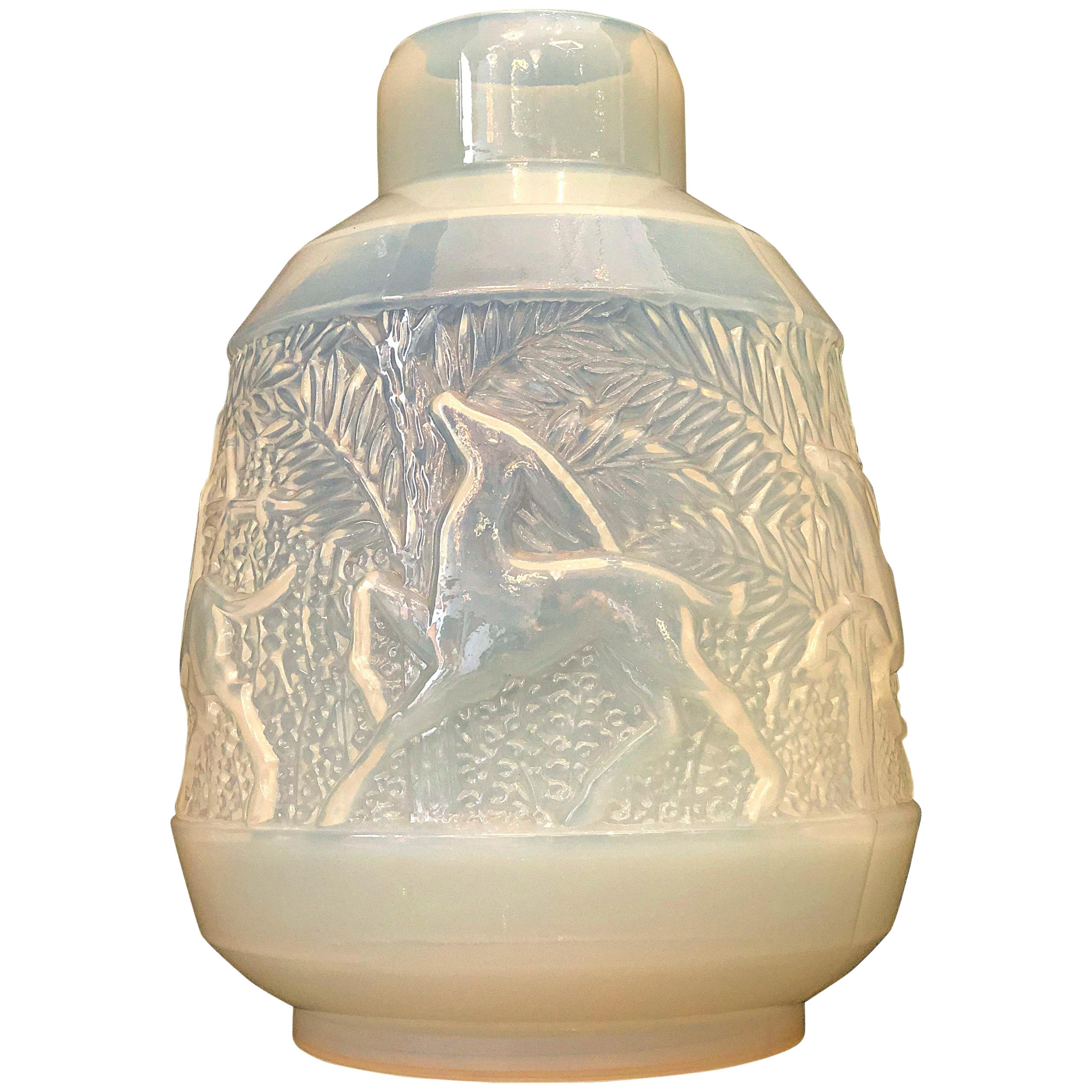 Rare French Art Deco Iridescent Glass Vase, Etling