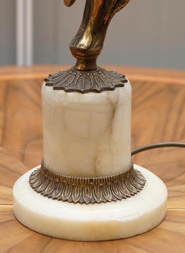Rare French Art Deco Marble Lamp Shade Bronze Art Decor Table Lamp Sculpture 6