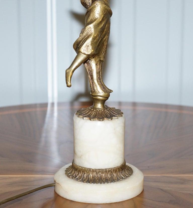 Rare French Art Deco Marble Lamp Shade Bronze Art Decor Table Lamp Sculpture 13