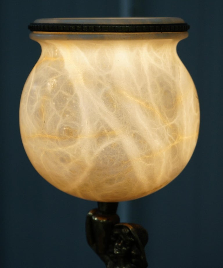 Rare French Art Deco Marble Lamp Shade Bronze Art Decor Table Lamp Sculpture 1