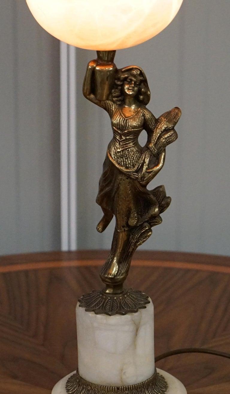 Rare French Art Deco Marble Lamp Shade Bronze Art Decor Table Lamp Sculpture 2