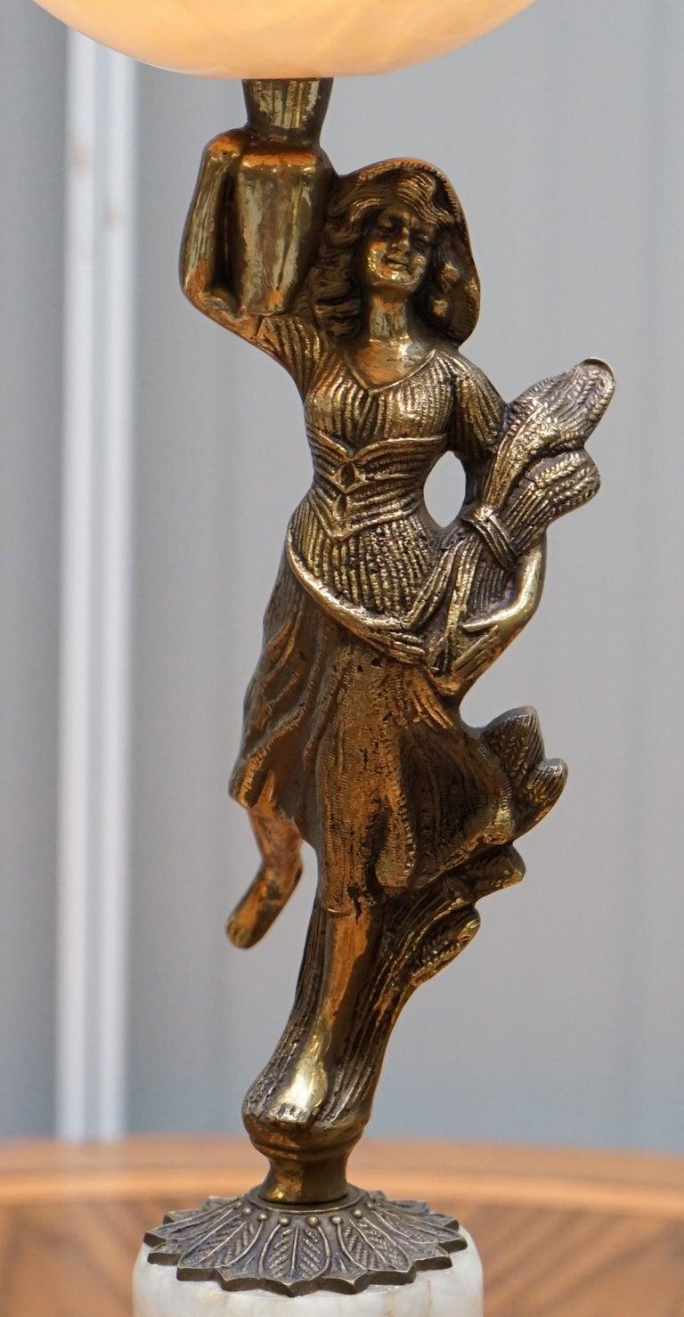 Rare French Art Deco Marble Lamp Shade Bronze Art Decor Table Lamp Sculpture 3