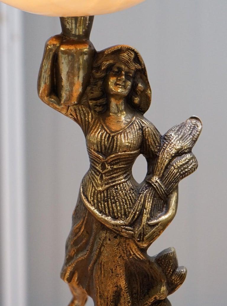 Rare French Art Deco Marble Lamp Shade Bronze Art Decor Table Lamp Sculpture 4