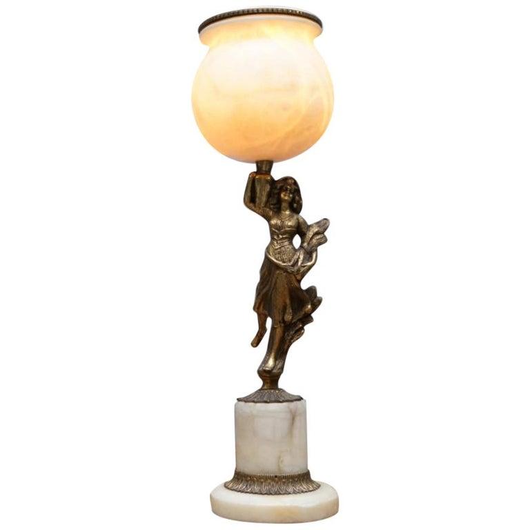 Rare French Art Deco Marble Lamp Shade Bronze Art Decor Table Lamp