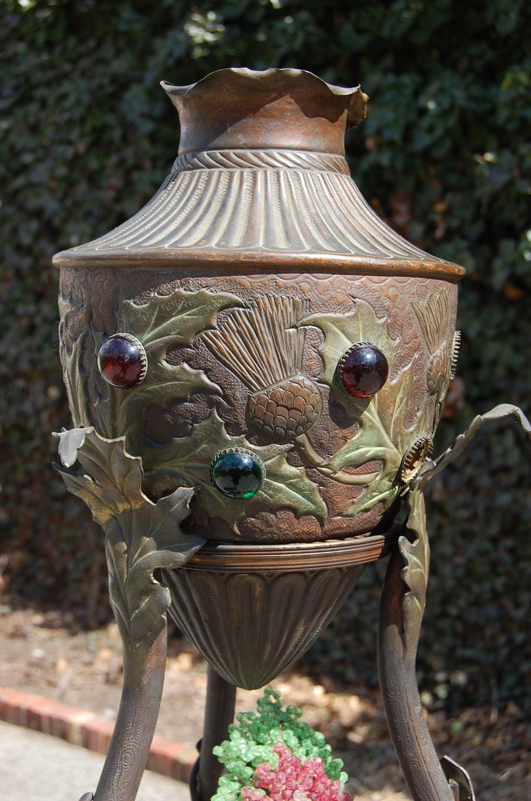 Rare French Art Nouveau Bronze Floor Lamp with Embossed Leaves, Flowers & Birds For Sale 2
