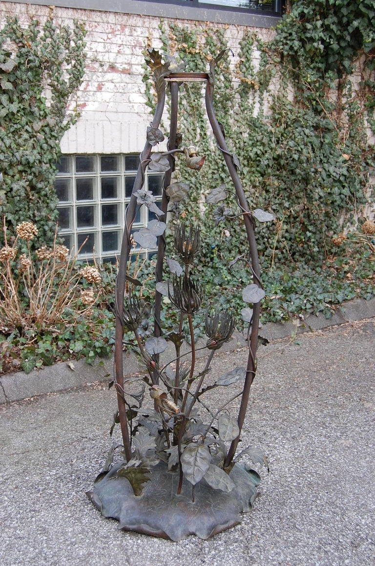 Rare French Art Nouveau Bronze Floor Lamp with Embossed Leaves, Flowers & Birds For Sale 4