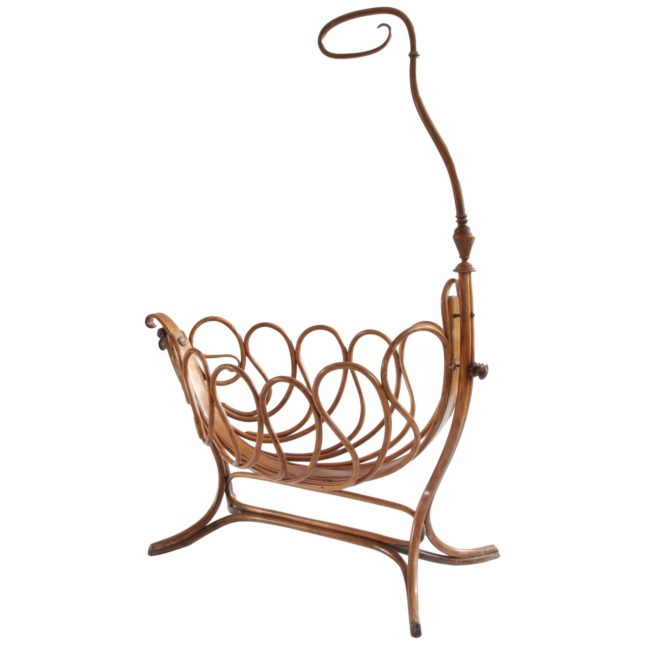 Rare French Bentwood Cradle in the Thonet Style, Late 19th Century