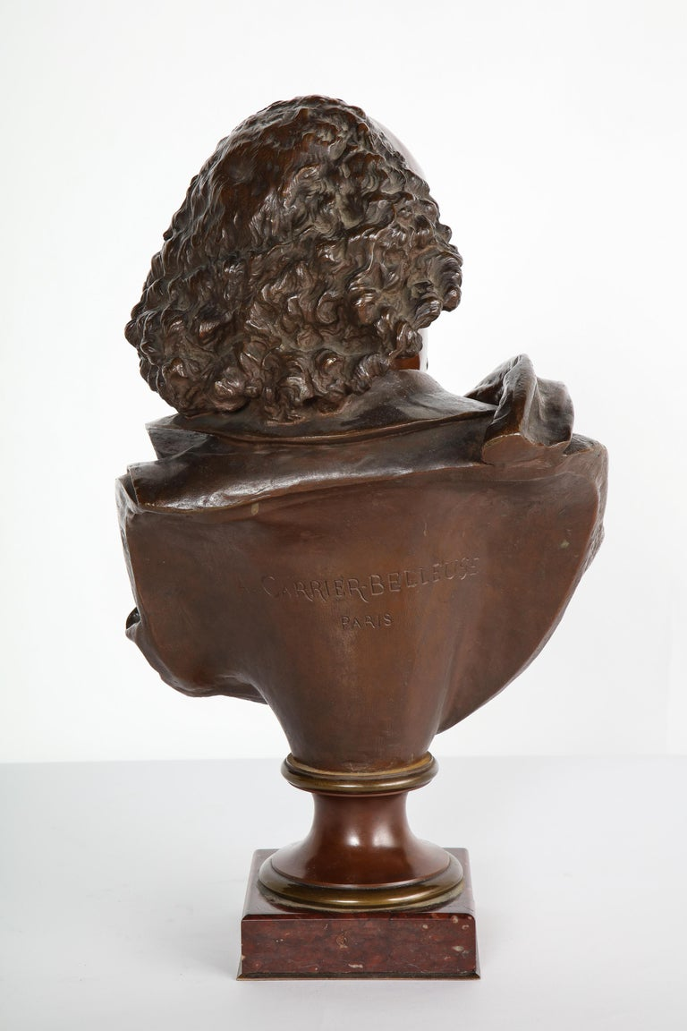 Rare French Bronze Bust of William Shakespeare by Carrier Belleuse and Pinedo For Sale 11