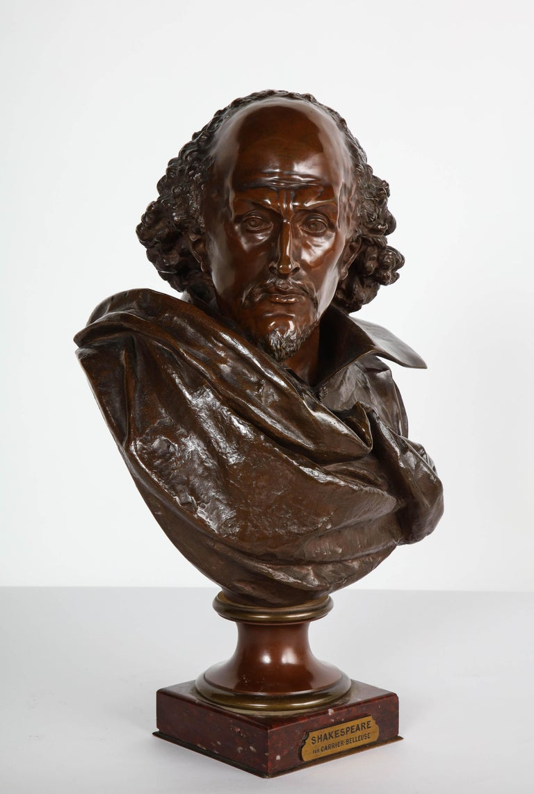 Rare French Bronze Bust of William Shakespeare by Carrier Belleuse and Pinedo For Sale 14