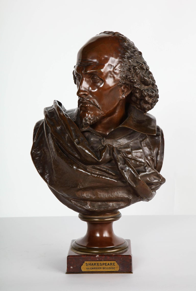 Rare French Bronze Bust of William Shakespeare by Carrier Belleuse and Pinedo For Sale 15