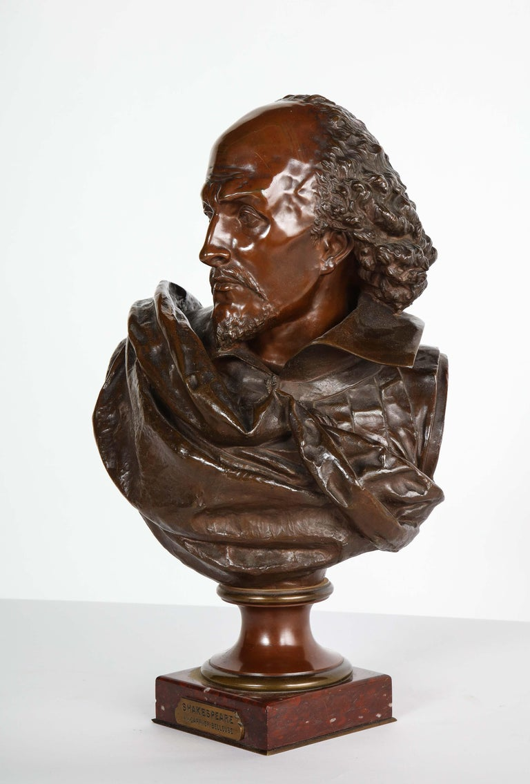 19th Century Rare French Bronze Bust of William Shakespeare by Carrier Belleuse and Pinedo For Sale