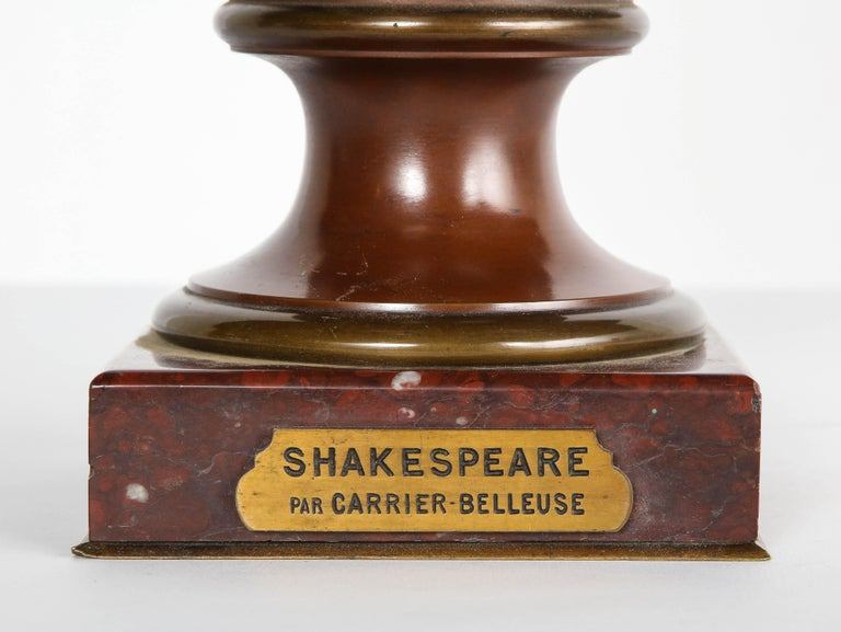 Rare French Bronze Bust of William Shakespeare by Carrier Belleuse and Pinedo For Sale 1