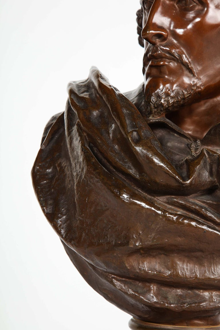 Rare French Bronze Bust of William Shakespeare by Carrier Belleuse and Pinedo For Sale 4