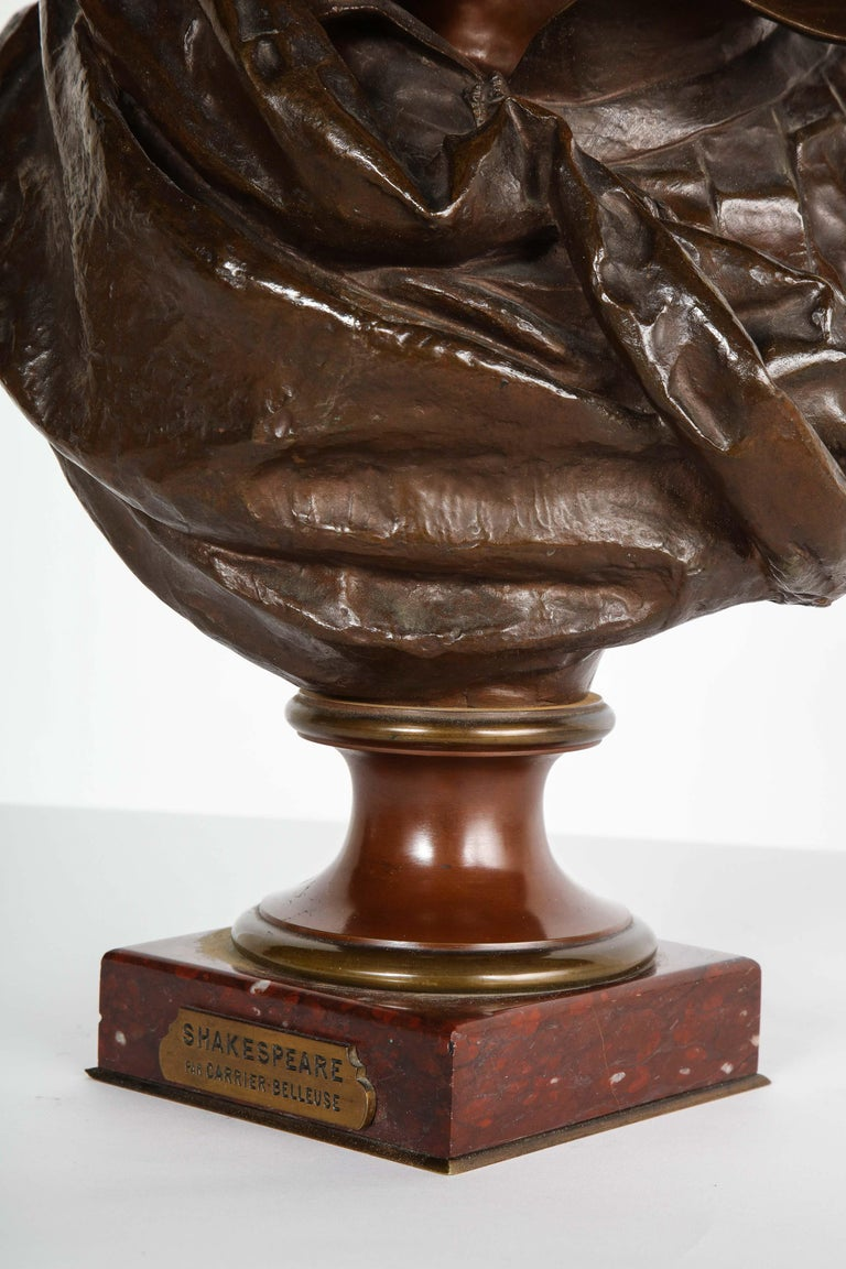 Rare French Bronze Bust of William Shakespeare by Carrier Belleuse and Pinedo For Sale 5