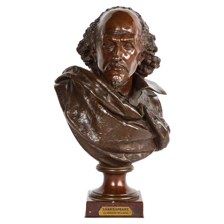 Rare French Bronze Bust of William Shakespeare by Carrier Belleuse and Pinedo For Sale
