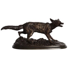 """Rare French Bronze Sculpture of """"Panting Fox"""" by Pierre Jules Mene, circa 1870"""