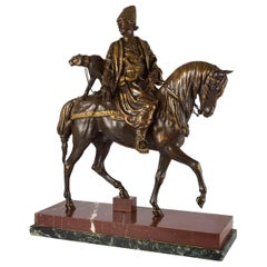 """Rare French Bronze Sculpture """"Persian Hunter with Cheetah"""" by Alfred Dubucand"""