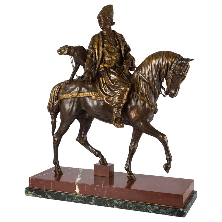 """Rare French Bronze Sculpture """"Persian Hunter with Cheetah"""" by Alfred Dubucand For Sale"""