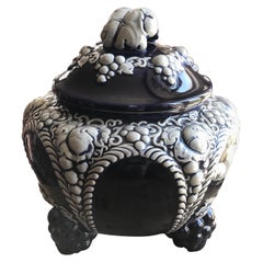 Rare French Ceramic Soup Tureen in Dark Blue Decorated with Grapes and Leafs
