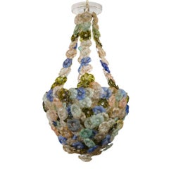 Rare French Chandelier with Glass Flowers, circa 1900