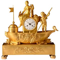 "Rare French Empire Clock, ""boat Of Venus And Love"", circa 1810"