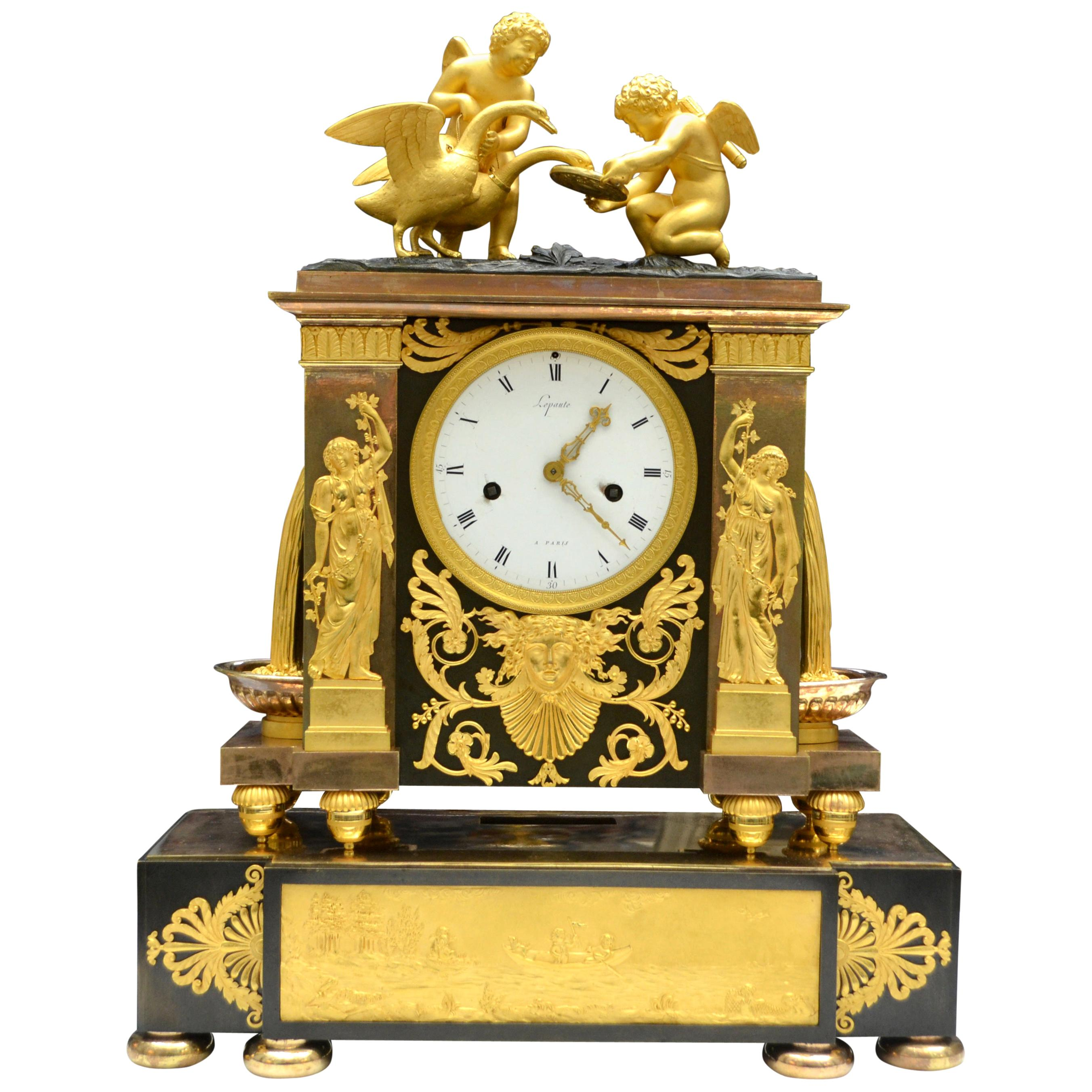 Rare French Empire Clock in Gilt and Patinated Bronze Signed Lepaute