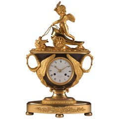 Rare French Empire Vase Pendulum with Chariot, 1810