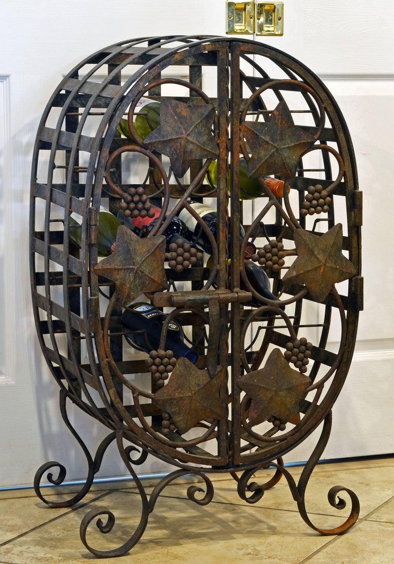Rare French Grape Vine Themed Wrought Iron Barrel Shape Wine Jail Or